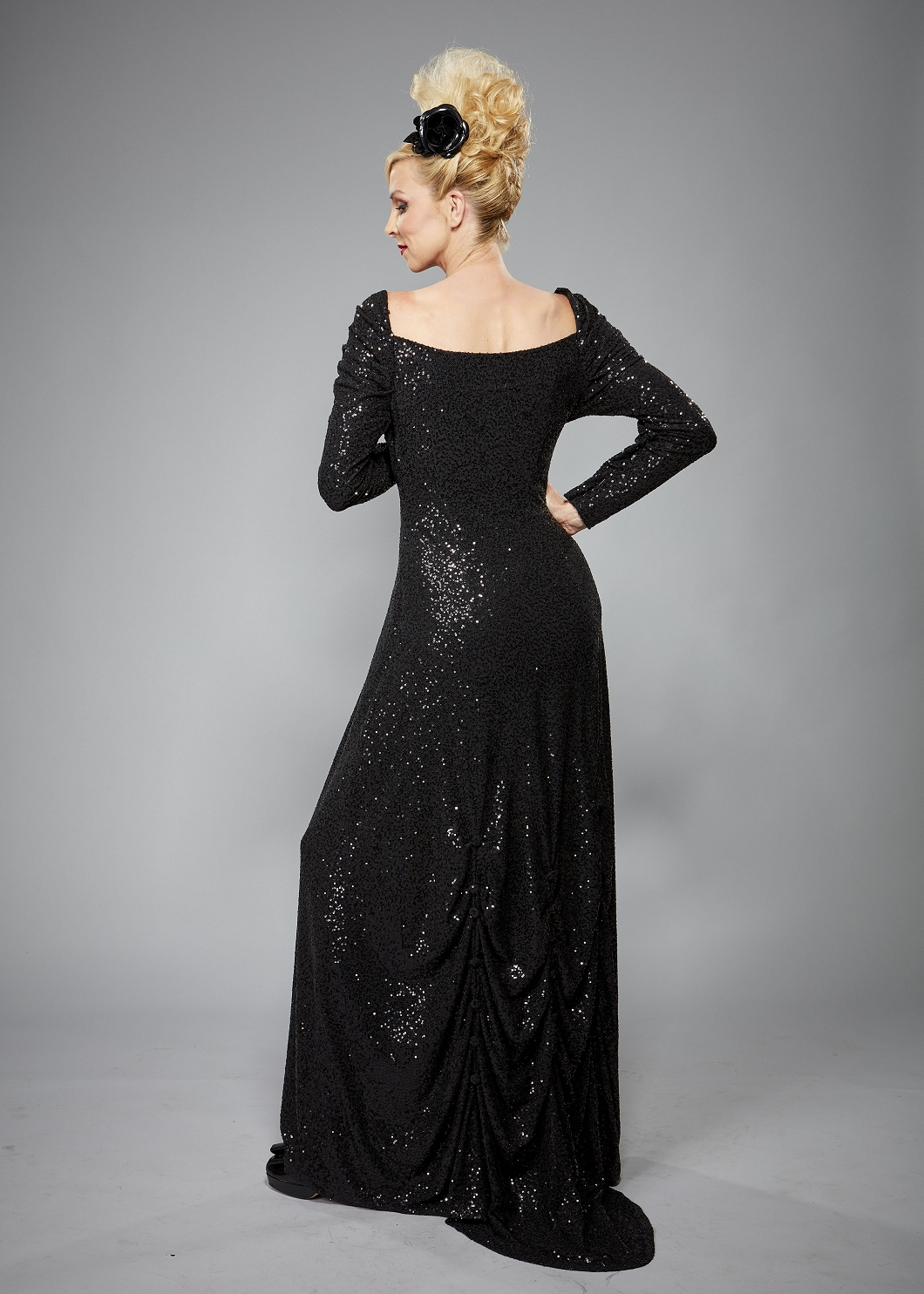 Langes schwarzes Abendkleid mit Pailletten, Stretch