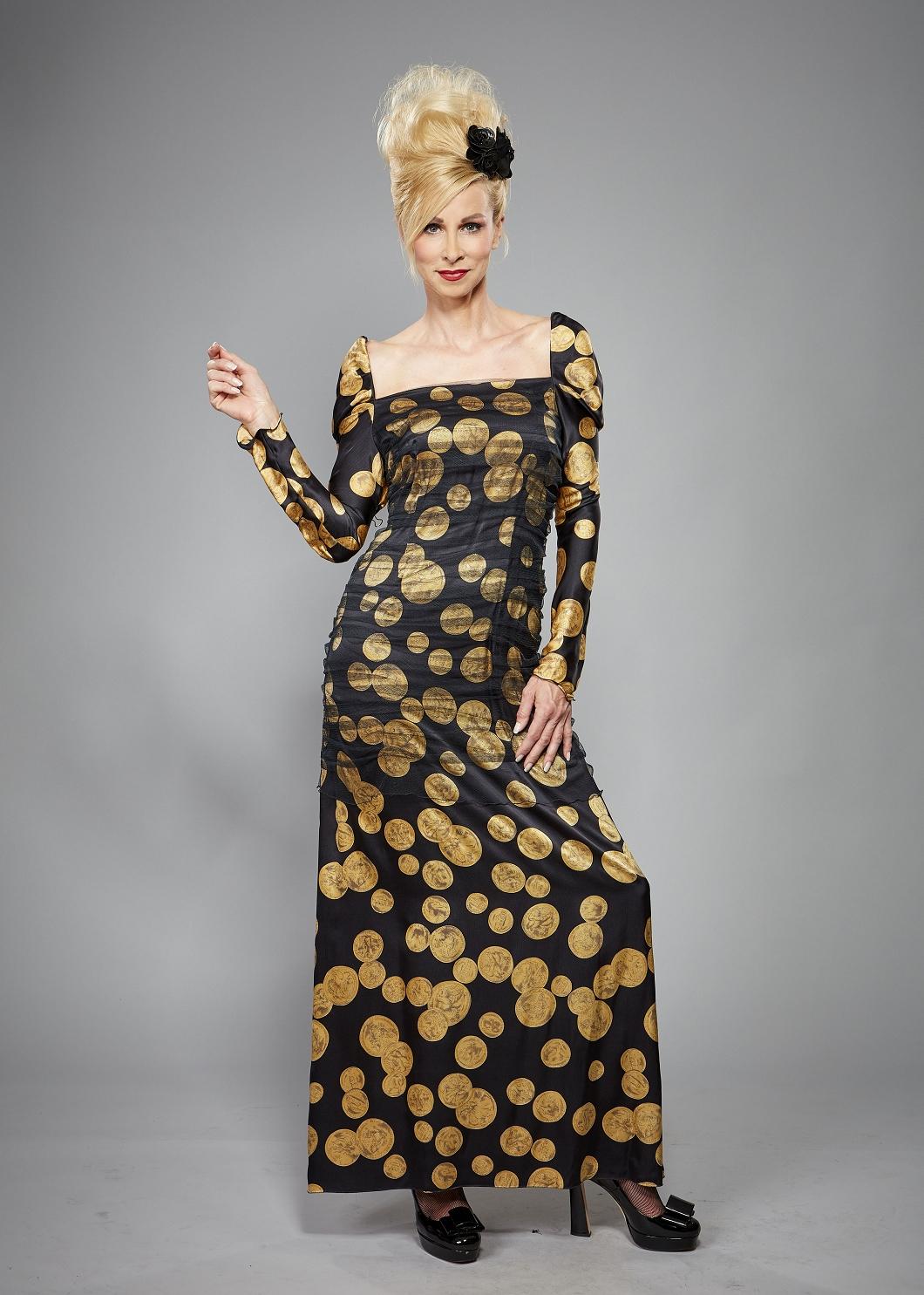 Langes Abendkleid in schwarz-gold mit langem Ärmel