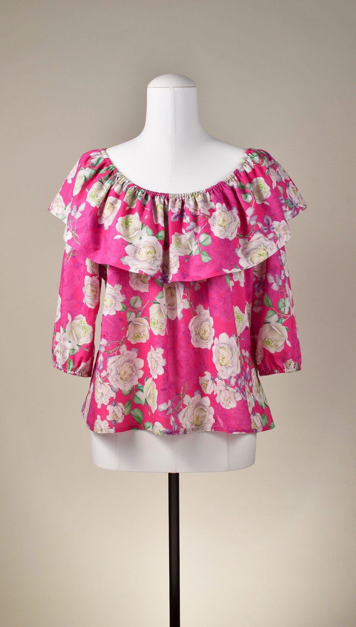 """Bluse """"Pink & Roses"""" von KleiderLuxus"""