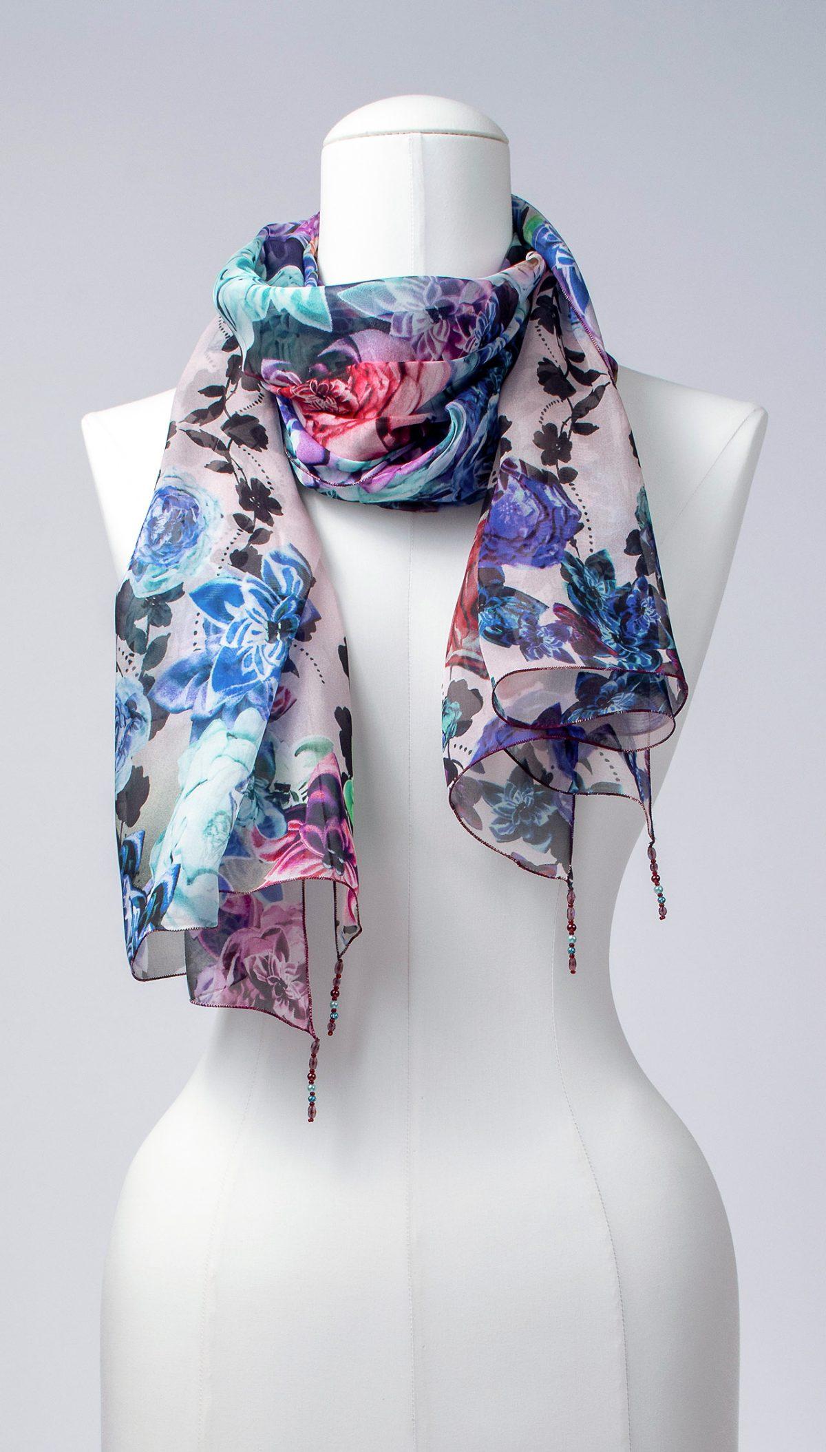 Seidenschal, lang, florales Design